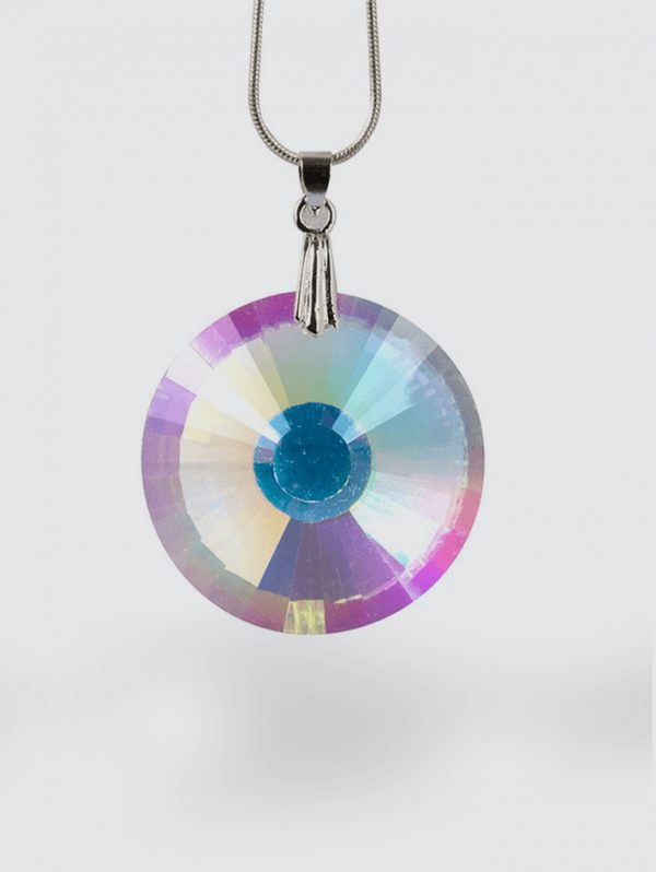 A photo of our round faceted emf necklace.